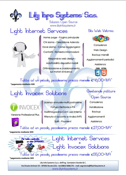 Locandina promo Light Internet Service e Light Invoicex Solutions